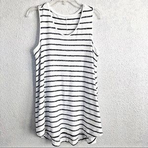Tops - Med blue striped White Terry Cloth Tank NWT